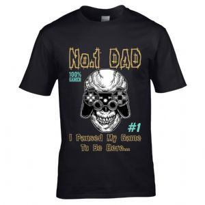 Funny Number 1 Dad I Paused my Game to be Here Motif Gamer Fathers Day gift men's t-shirt top